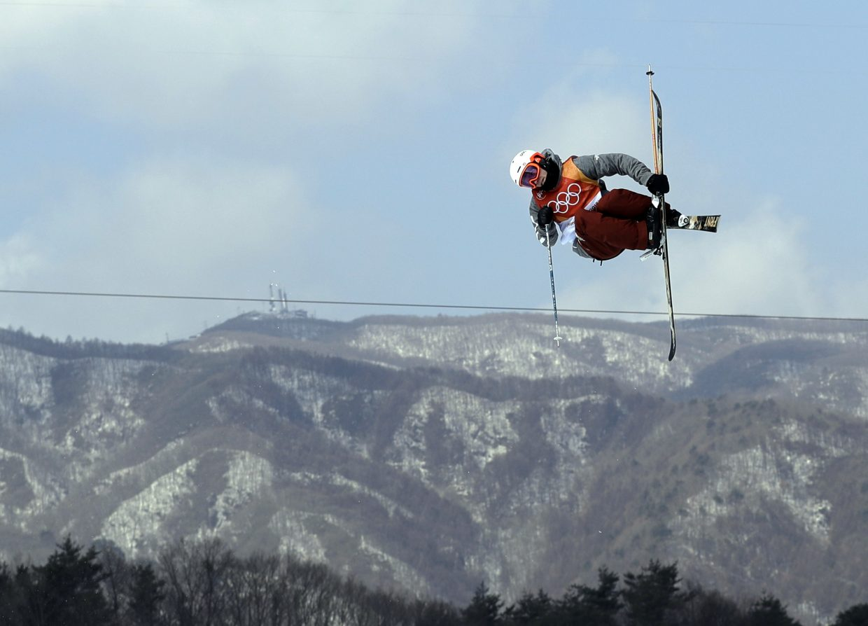 Alex Ferreira, of the United States, jumps during the men's halfpipe finals at Phoenix Snow Park at the 2018 Winter Olympics in Pyeongchang, South Korea, Thursday, Feb. 22, 2018. (AP Photo/Gregory Bull)