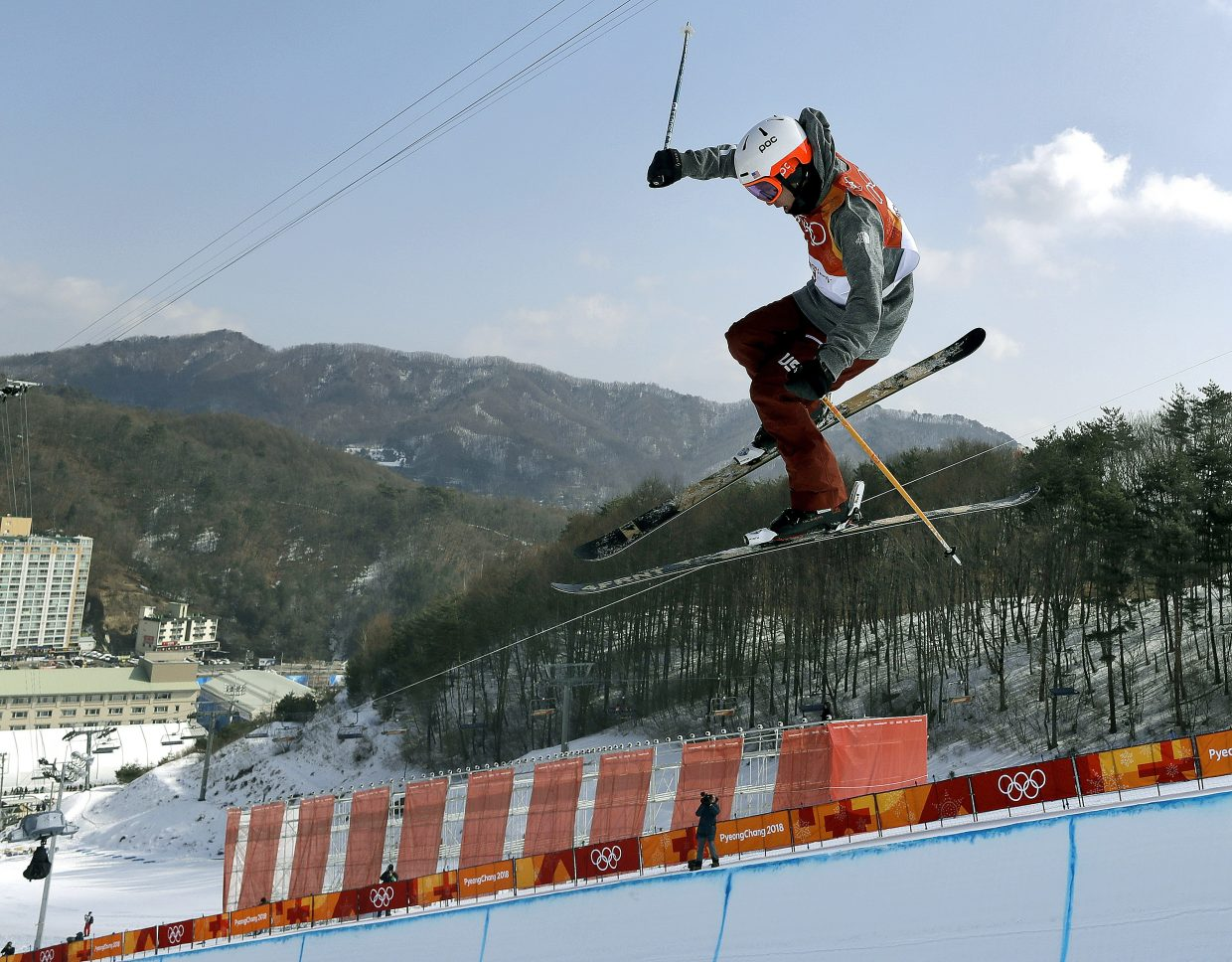 Alex Ferreira, of the United States, jumps during the men's halfpipe finals at Phoenix Snow Park at the 2018 Winter Olympics in Pyeongchang, South Korea, Thursday, Feb. 22, 2018. (AP Photo/Kin Cheung)