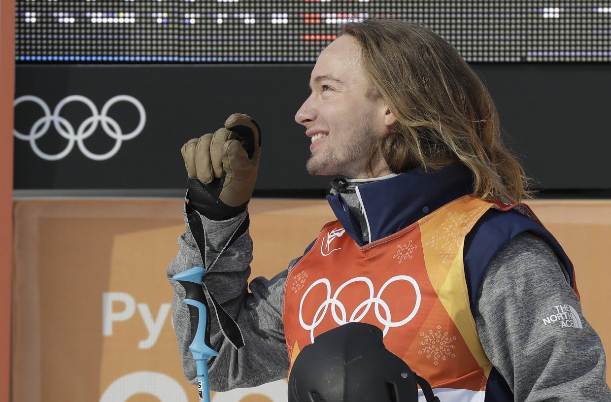 David Wise, of the United States, reacts after his run during the men's halfpipe qualifying at Phoenix Snow Park at the 2018 Winter Olympics in Pyeongchang, South Korea, Tuesday, Feb. 20, 2018. (AP Photo/Kin Cheung)