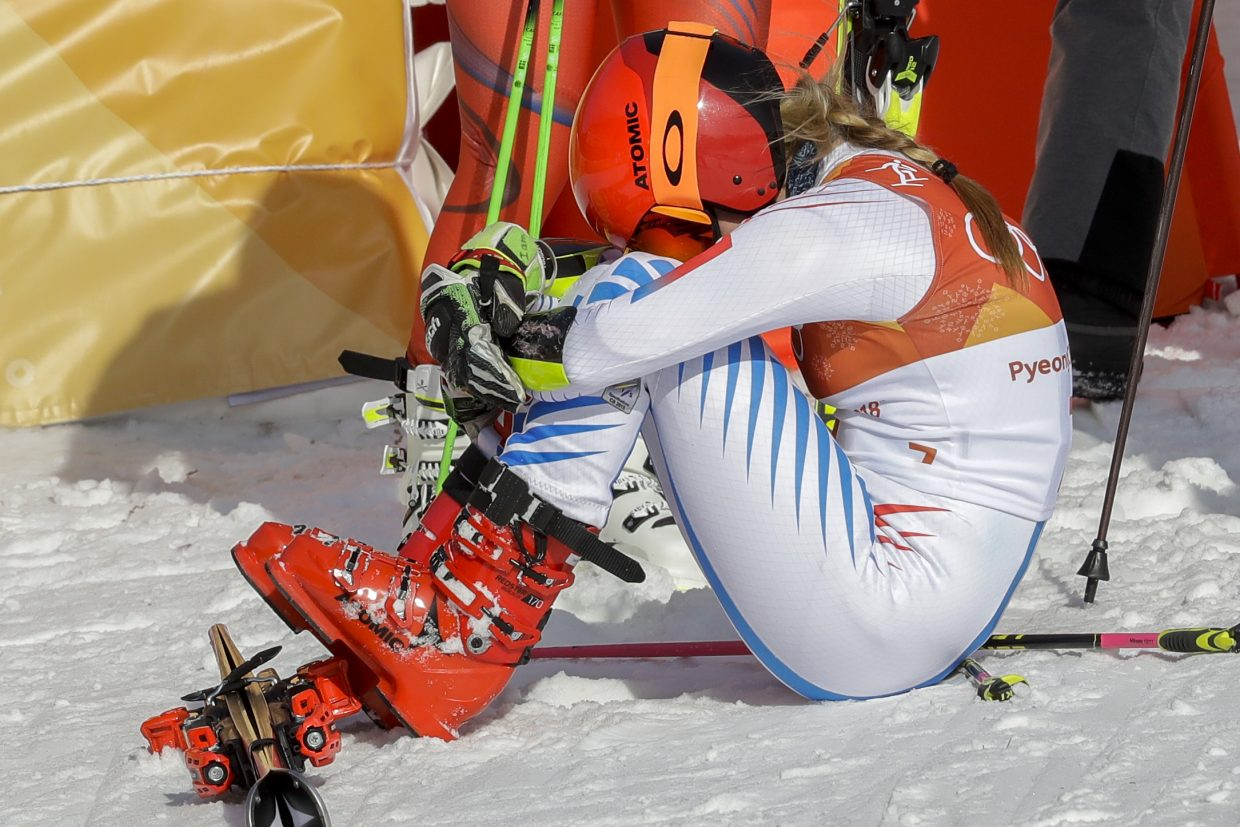 Mikaela Shiffrin, of the United States, reacts in the finish area after winning the gold medal in the Women's Giant Slalom at the 2018 Winter Olympics in Pyeongchang, South Korea, Thursday, Feb. 15, 2018., Thursday, Feb. 15, 2018. (AP Photo/Michael Probst)