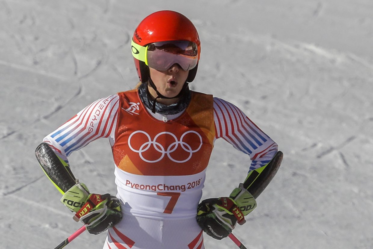 Mikaela Shiffrin, of the United States, reacts to her time during the first run of the Women's Giant Slalom at the 2018 Winter Olympics in Pyeongchang, South Korea, Thursday, Feb. 15, 2018. (AP Photo/Morry Gash)