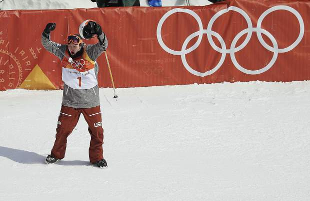 AlexFerreira, of the United States, reacts after his run during the men's halfpipe finals at Phoenix Snow Park at the 2018 Winter Olympics in Pyeongchang, South Korea, Thursday, Feb. 22, 2018. (AP Photo/Kin Cheung)