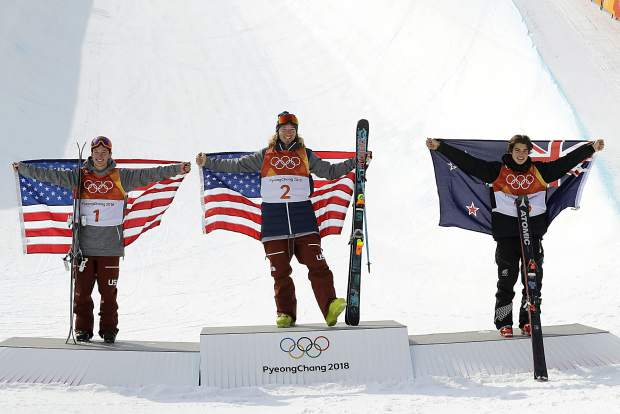 From left; Silver medal winner Alex Ferreira, of the United States, gold medal winner David Wise, of the United States, and bronze medal winner Nico Porteous, of New Zealand, celebrate after the men's halfpipe final at Phoenix Snow Park at the 2018 Winter Olympics in Pyeongchang, South Korea, Thursday, Feb. 22, 2018.(AP Photo/Lee Jin-man)