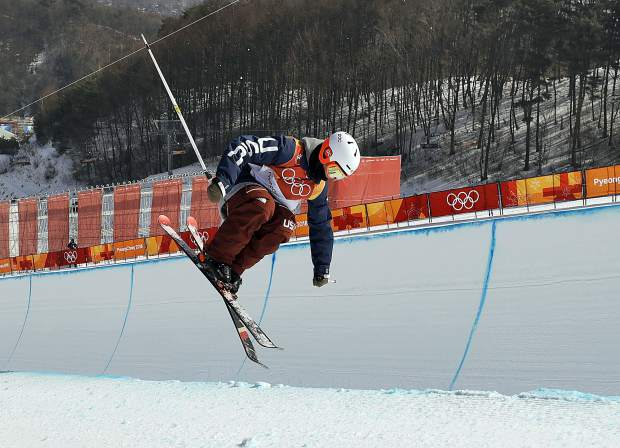 Aaron Blunck, of the United States, jumps during the men's halfpipe finals at Phoenix Snow Park at the 2018 Winter Olympics in Pyeongchang, South Korea, Thursday, Feb. 22, 2018. (AP Photo/Kin Cheung)
