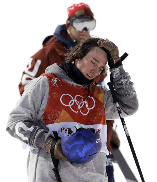 TorinYater-Wallace, of the United States, reacts after his run during the men's halfpipe final at Phoenix Snow Park at the 2018 Winter Olympics in Pyeongchang, South Korea, Thursday, Feb. 22, 2018. (AP Photo/Lee Jin-man)