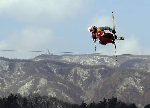 AlexFerreira, of the United States, jumps during the men's halfpipe finals at Phoenix Snow Park at the 2018 Winter Olympics in Pyeongchang, South Korea, Thursday, Feb. 22, 2018. (AP Photo/Gregory Bull)