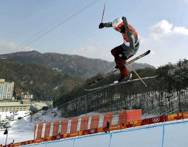 AlexFerreira, of the United States, jumps during the men's halfpipe finals at Phoenix Snow Park at the 2018 Winter Olympics in Pyeongchang, South Korea, Thursday, Feb. 22, 2018. (AP Photo/Kin Cheung)