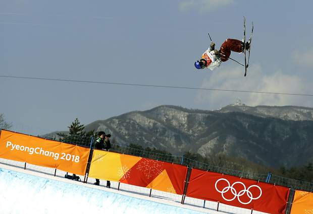 Torin Yater-Wallace, of the United States, jumps during the men's halfpipe finals at Phoenix Snow Park at the 2018 Winter Olympics in Pyeongchang, South Korea, Thursday, Feb. 22, 2018. (AP Photo/Gregory Bull)
