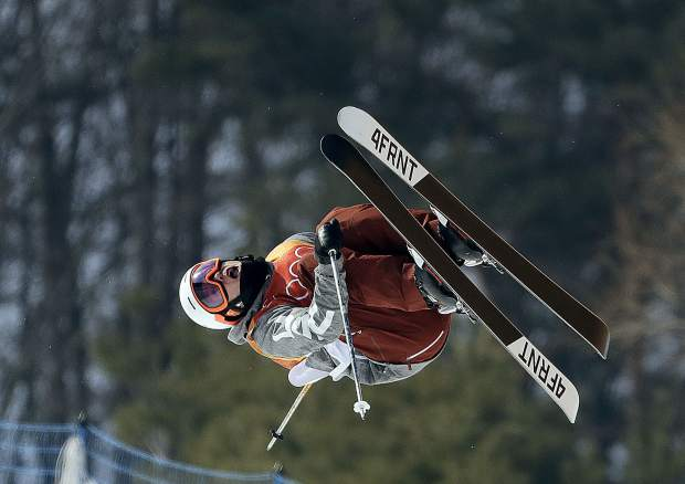 Alex Ferreira, of the United States, jumps during the men's halfpipe final at Phoenix Snow Park at the 2018 Winter Olympics in Pyeongchang, South Korea, Thursday, Feb. 22, 2018. (AP Photo/Lee Jin-man)
