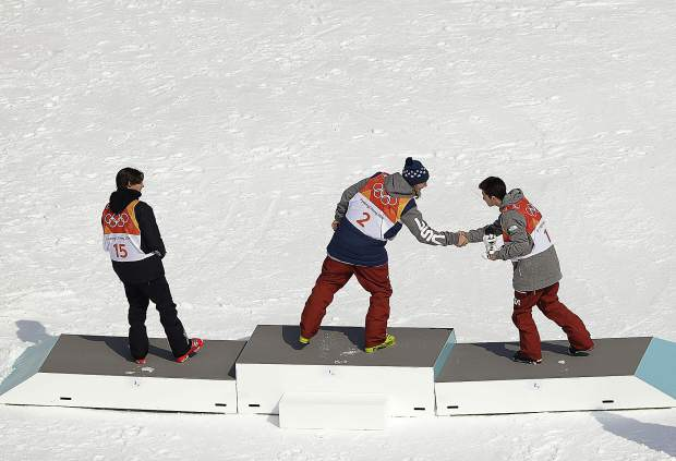 From left; Bronze medal winner Nico Porteous, of New Zealand, gold medal winner David Wise, of the United States, and silver medal winner Alex Ferreira, of the United States, the men's halfpipe finals at Phoenix Snow Park at the 2018 Winter Olympics in Pyeongchang, South Korea, Thursday, Feb. 22, 2018. (AP Photo/Gregory Bull)