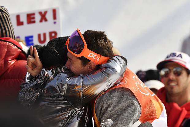 Aspen skier Alex Ferreira celebrates with his family and friends after winning silver Thursday at the men's halfpipe at f the PyeongChang 2018 Winter Olympic Games at Phoenix Snow Park . (Photo by Hyoung Chang/The Denver Post)
