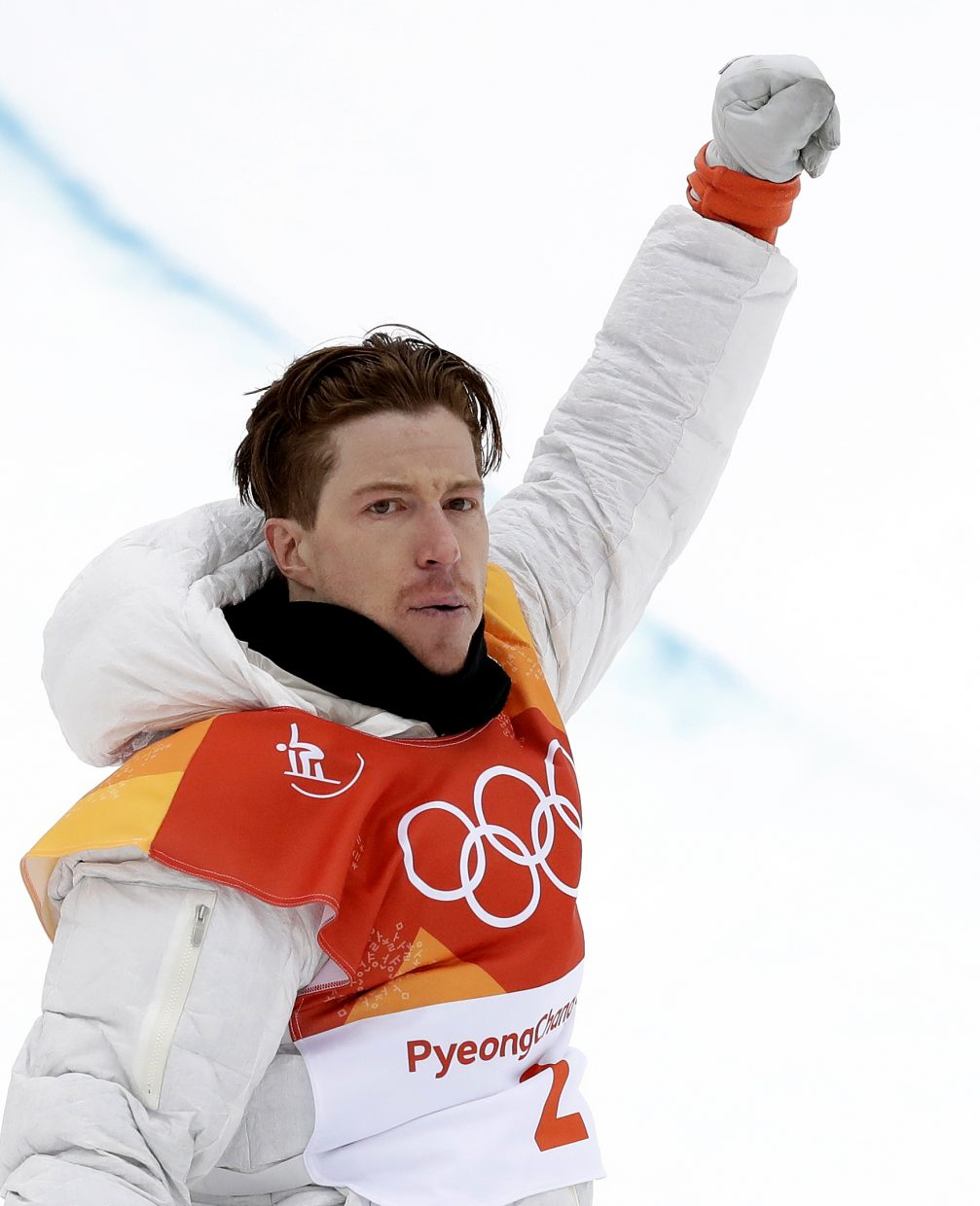 Shaun White, of the United States, celebrates after his run during the men's halfpipe finals at Phoenix Snow Park at the 2018 Winter Olympics in Pyeongchang, South Korea, Wednesday, Feb. 14, 2018. (AP Photo/Gregory Bull)
