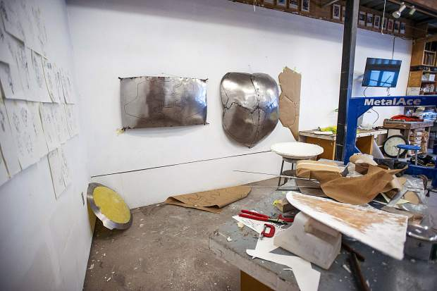 Anderson Ranch artist in residence Coby Kennedy's studio with current works in progress.