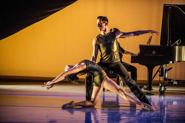 A scene from an open rehearsal on Wednesday at the Aspen District Theatre. Pianist Joyce Yang will accompany the dancers of Aspen Santa Fe Ballet on Saturday night. The program includes the world premiere of Jorma Elo's