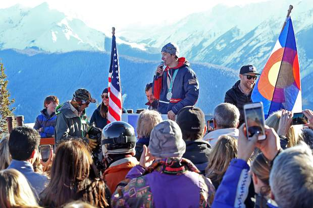 Alex Ferreira talks to the dozens of people who joined him at the top of Aspen Mountain on Friday to celebrate his Olympic silver medal from last month's Games in South Korea.
