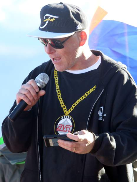 Eric Knight, the freestyle program director at the Aspen Valley Ski and Snowboard Club, talks during Friday's celebration at the top of Aspen Mountain.