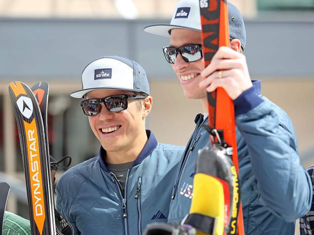Aspen's John Gaston, right, and teammate Max Taam take to the podium Saturday after winning the 20th annual Grand Traverse ski mountaineering race, which goes from Crested Butte to Aspen.