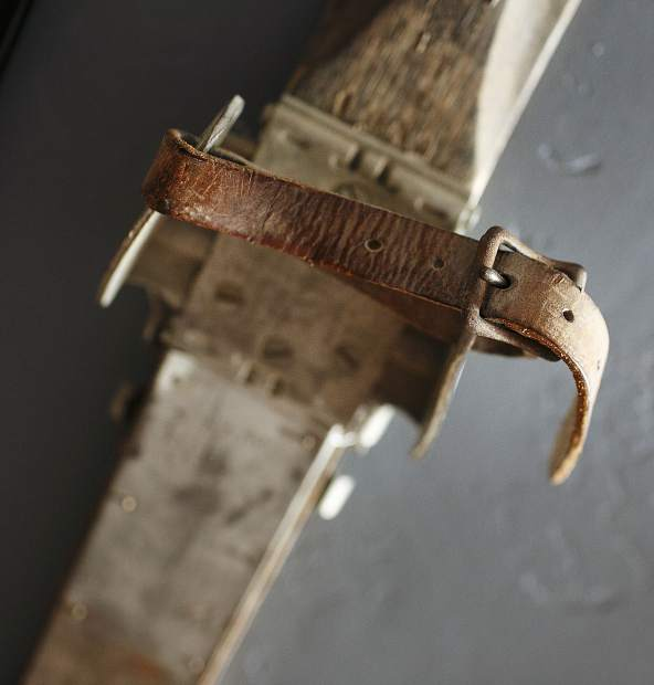 Ski binding straps used in early 20th century.