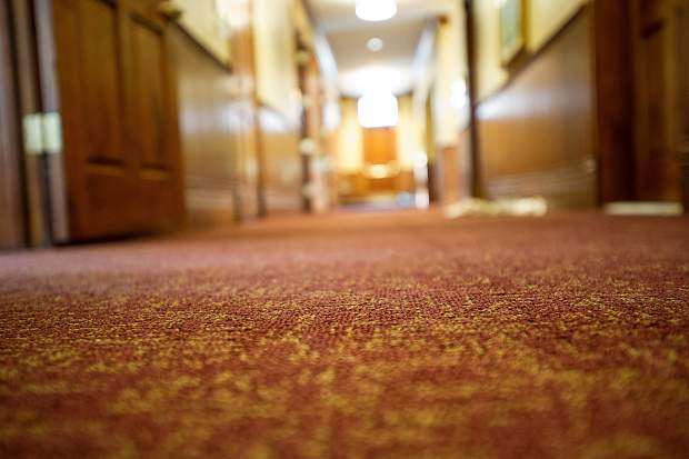 New carpet lines the hallway in the renovated St. Mary Church.
