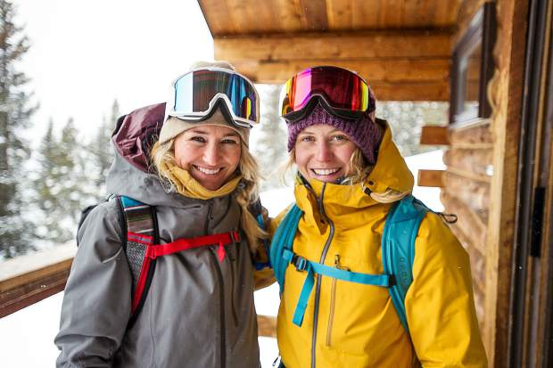 Gretchen Bleiler and Jordie Karlinski up on Richmond Ridge in Aspen.