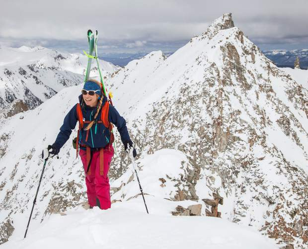 Christy Mahon adventuring around the local peaks high above Lindley Hut in the Castle Creek Valley.