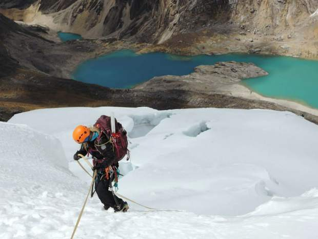 Sammy Podhurst rapelling off of the North Ridge of Artesonraju - Cordillera Blanca Range, Peru.
