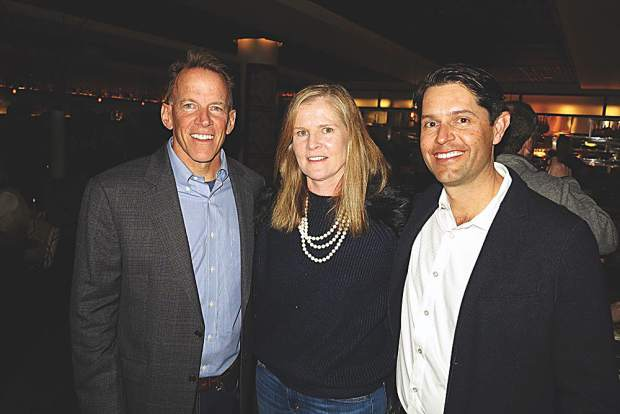 Rear Admiral Kerry M Metz with his wife, Sheila, and Chris Tullar, Managing Director and Office Manager for JonesTrading in Aspen.