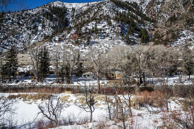 Part of the Phillips trailer park sits between Highway 82 and the Roaring Fork River down valley.