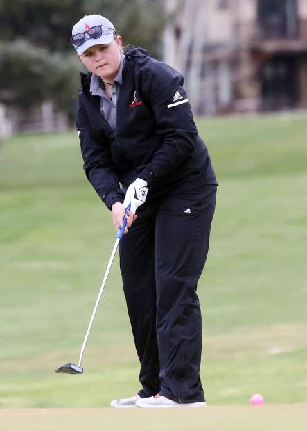 Aspen High School junior Zoe Guthrie putts during her round on Tuesday at Aspen Golf Club.