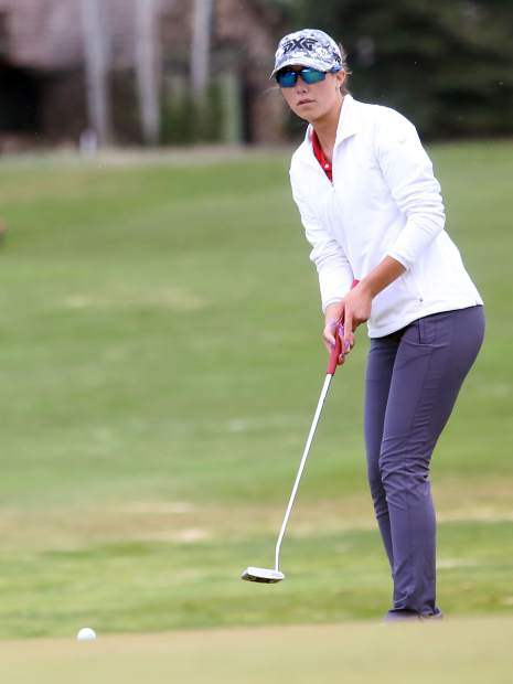 Glenwood's Callie Jones putts during her round Tuesday at Aspen Golf Club.