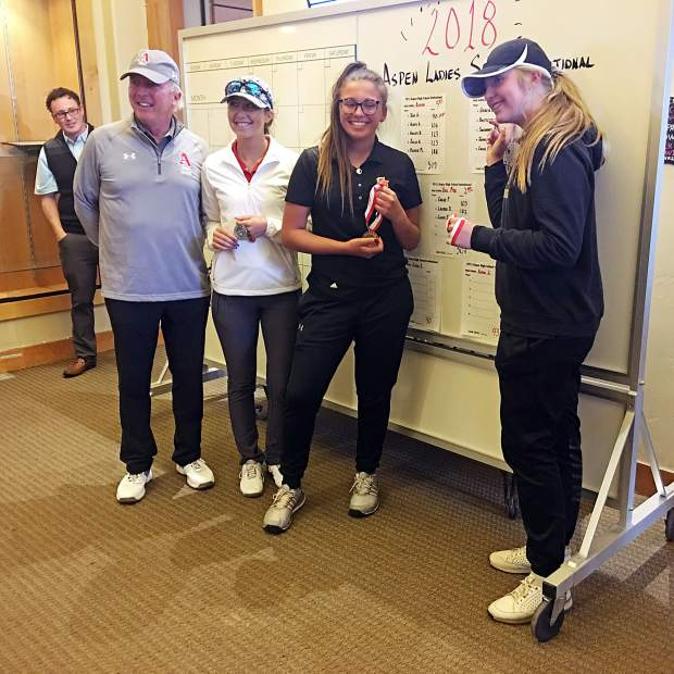 Grand Junction's Gracie Olkowski, right, points at her score during the awards ceremony at Aspen Golf Club. Olkowski, along with teammate Brittlynn Odell, next to her in black, led Grand Junction to the tournament title. Glenwood's Callie Jones, in white, was second overall, while Olkowski won.