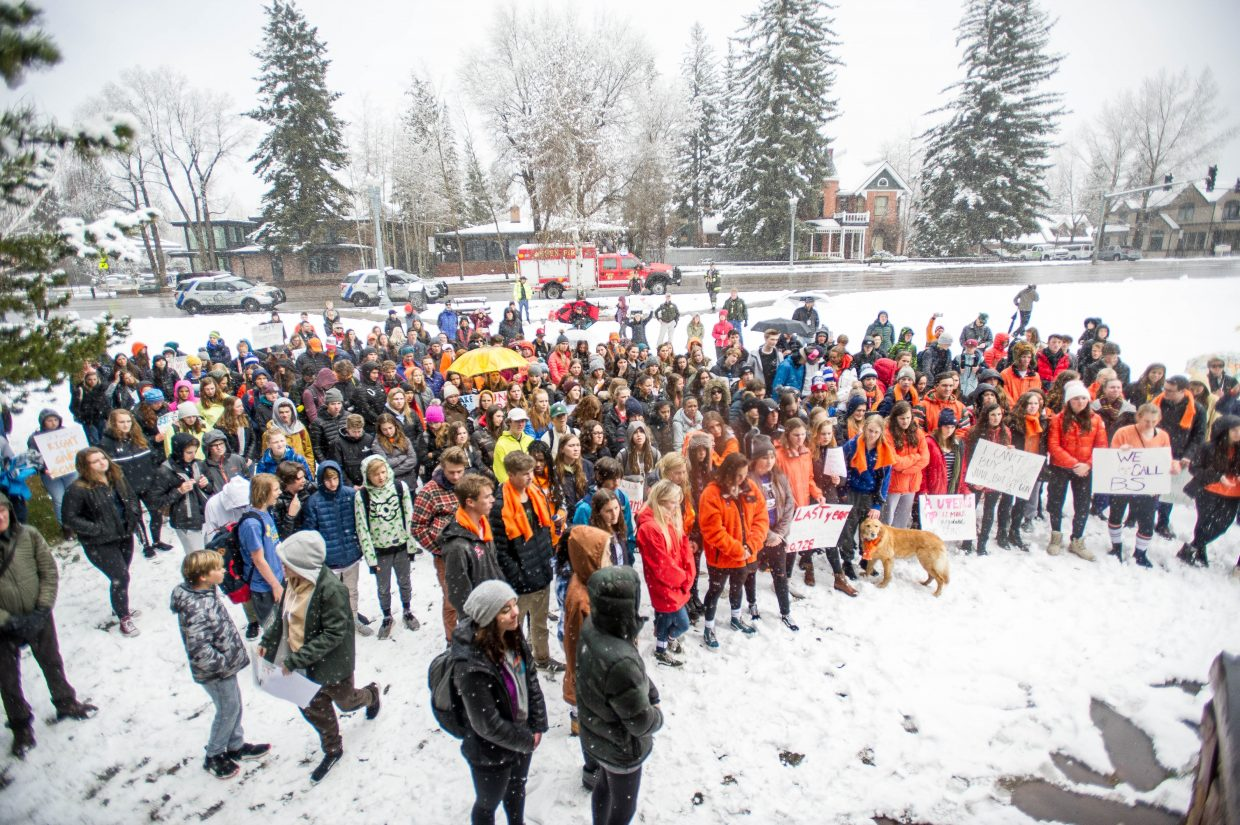 Students of Aspen High School and other supporters gathered at Paepcke Park on Friday for a student-organized walkout addressing all of the school shootings and gun control.