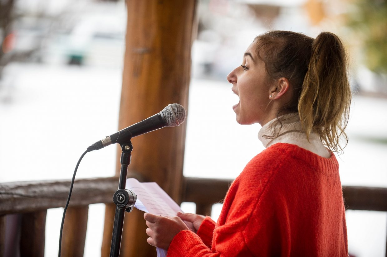 Aspen High School senior Zoe Cramer speaking at Paepcke Park on Friday regarding gun control and student walkouts.