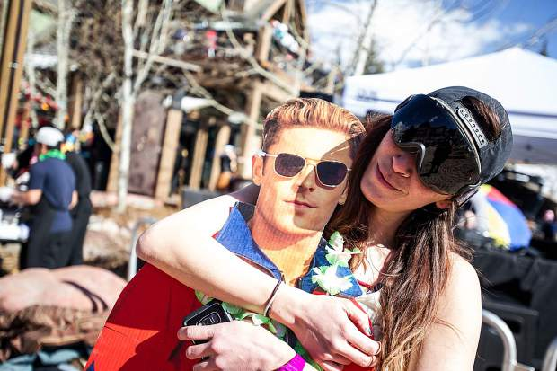Courtney Lawerence hangs out with a Zac Efron cutout at Base Village in Snowmass on Saturday for closing festivities.