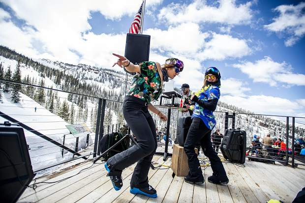 Kylie Popejoy, right, and Aly Romanus dance to Berkel Beats at Gwyn's on Saturday at Snowmass for closing festivities.