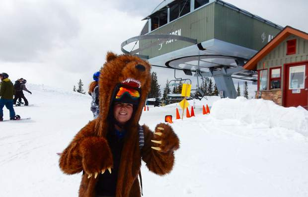 Julia Lee shows off her bear coat on Aspen Mountain for closing day on Sunday.