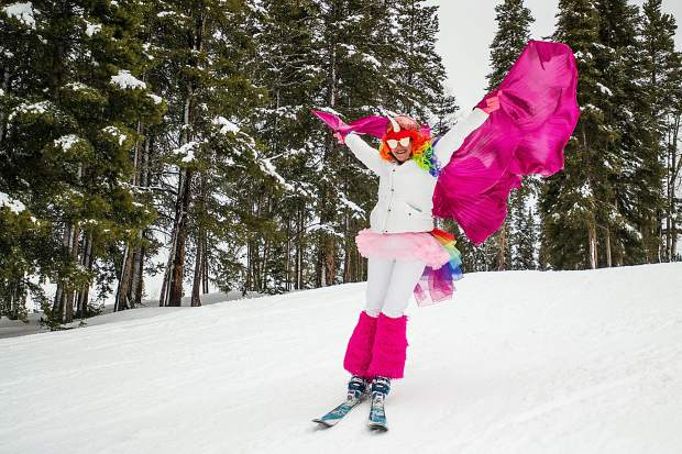 Naoma Gleason skis down in her costume at Aspen Highlands on Sunday for closing day.