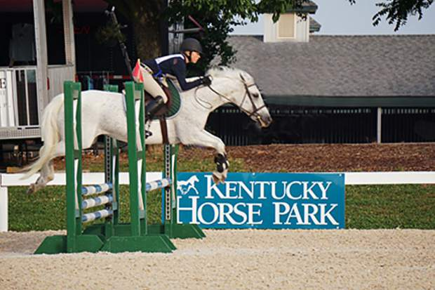 Callista Smith jumping Rose at the Kentucky Horse Park in Lexington at the Pony Club National Finals.
