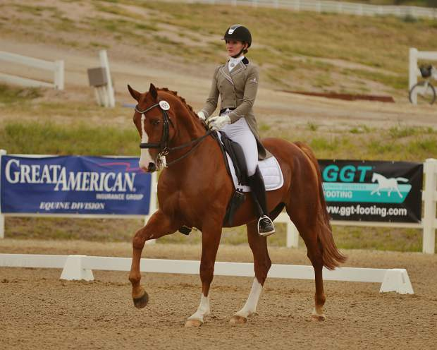 Allison Dechant Nimmo on Beau Liberty, owned by Lisa Haisfield of Aspen, at the Open Prix St. George championship at Region 5 and RMDS Championships at the Colorado Horse Park in September 2017.