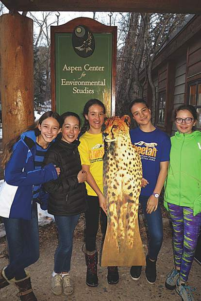 Cheetah Night at Aspen Center for Environmental Studies, spearheaded by seventh grade twins Willow and Isabella Poschman.