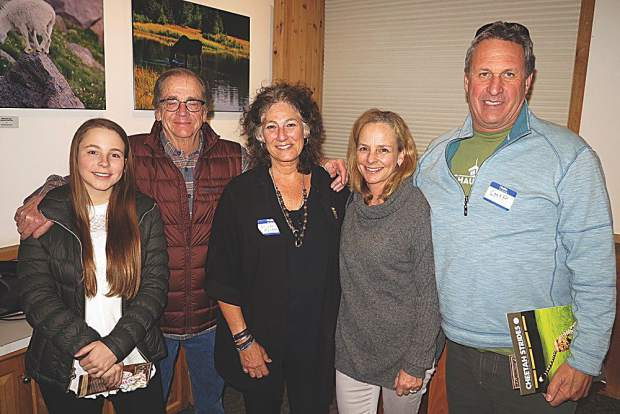 Five cool cats at ACES' Cheetah Night: Sophie Wilcox, John Wilcox, Dr. Laurie Marker, Juliet Wilcox and Chip Comins.