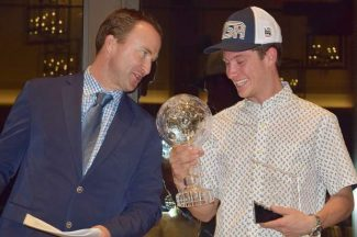 Aspen skier Alex Ferreira receives his World Cup crystal globe in Vail