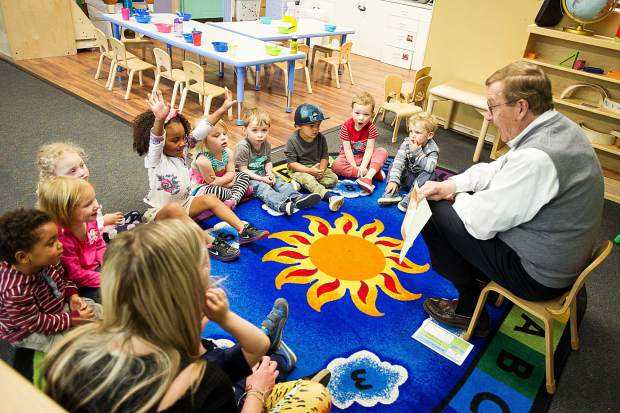 Warren Klug reading to pre-k children at the Yellowbrick in Aspen on May 30, 2018, for the