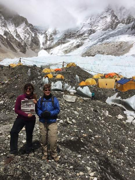 Readers Kathy DeWolfe and Susan Cross took a break at Everest Base Camp with the Aspen Times in May. Email your