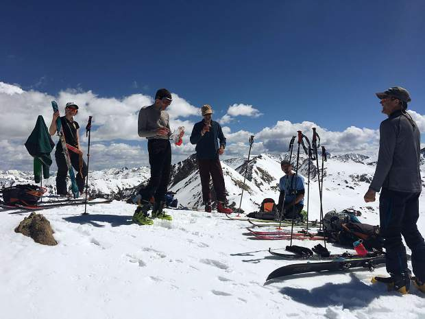 A group after completing their ski tour on Independence Pass.