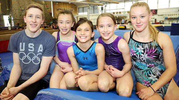 From left, Aspen Gymnastics athletes Donovan Bronstein, Katie Sheridan, Mino Khan-Farooqi, Story Rondeau and Morgan Leasure.