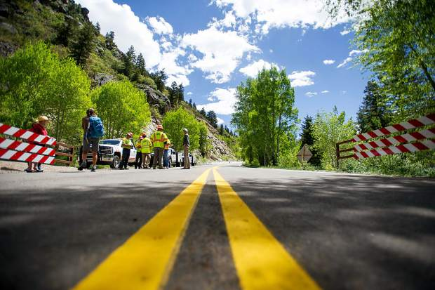 Independence Pass gate in Aspen officially opened for the summer season at noon on Thursday. Approximately 47 cars were in the lineup to go over the pass.