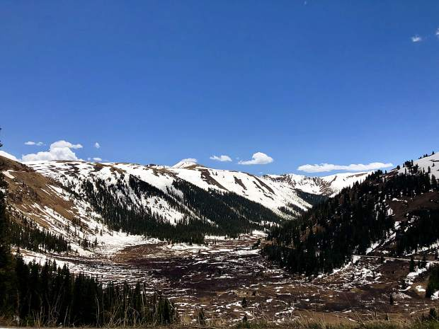 The snow up the pass is sparse this year.