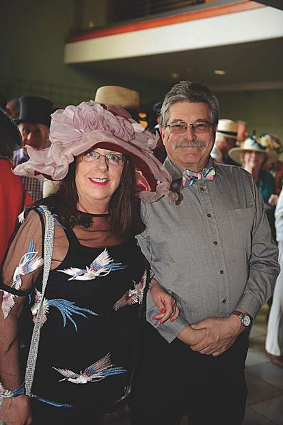 Wearing their Derby attire with flair - Kathy Webb and Marty Silverstein.