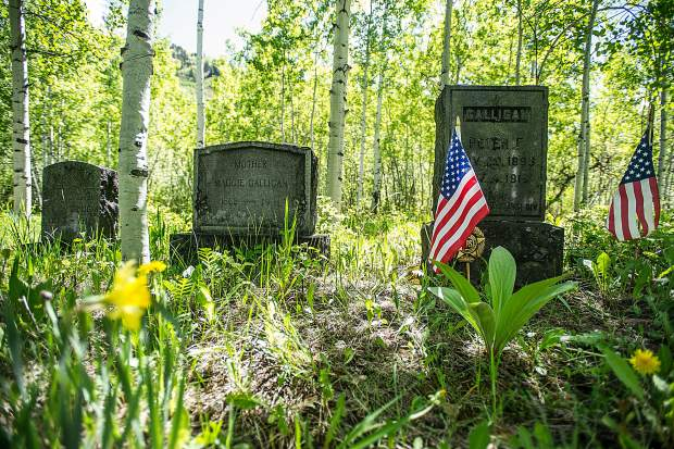 The gravestones of World War I veteran Peter Galligan, his mother and father are together in the Aspen Grove Cemetery. The family plot also includes two other Galligan sons.